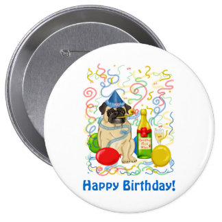 Customizable Party Pug Celebration Tees and Gifts Pinback Button