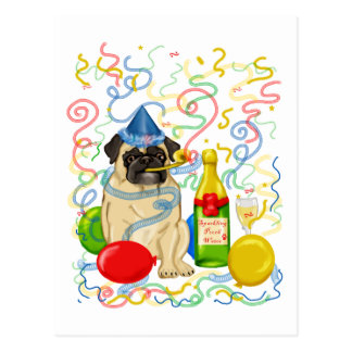 Customizable Party Pug Celebration Tees and Gifts Postcard