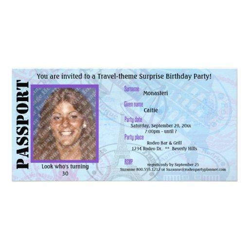 Customizable Passport Party Invitation Photo Card