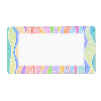 Customizable PASTEL RAINBOW STRIPES AVERY LABELS