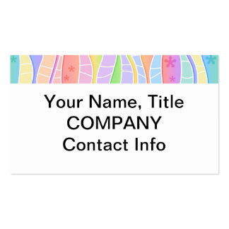 Customizable PASTEL RAINBOW STRIPES BUSINESS CARD