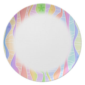 Customizable PASTEL RAINBOW STRIPES PLATE