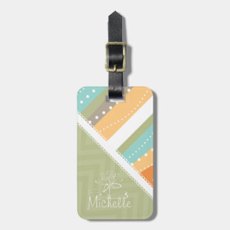 Customizable Pastel Stripes and Chevron Bag Tags
