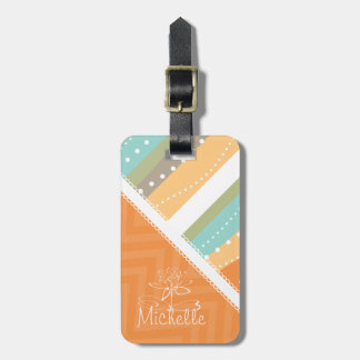 Customizable Pastel Stripes and Chevron Tag For Bags