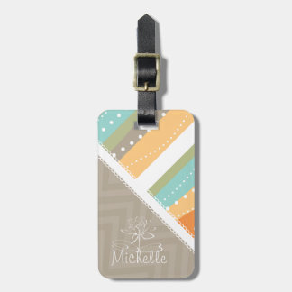 Customizable Pastel Stripes and Chevron Tag For Luggage