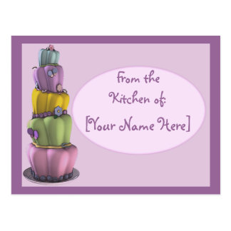 Customizable Pastel Topsy Turvy Cake Recipe Card Post Card
