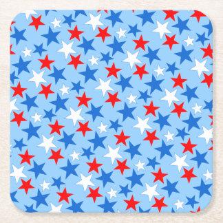 Customizable Patriotic Stars Square Paper Coaster