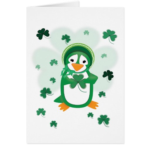 Customizable Patsy Penguin St. Patrick's Day Card