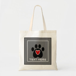 Customizable Paw Print and Heart Budget Tote Bag