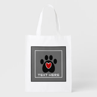 Customizable Paw Print and Heart Grocery Bag