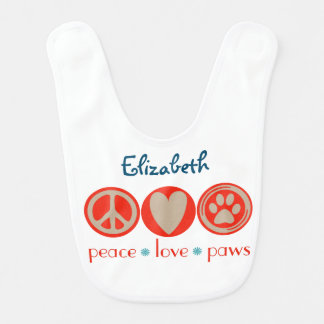 Customizable Peace Love Paws Bib