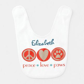 Customizable Peace Love Paws Baby Bibs