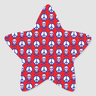 Customizable Peace Skulls Star Sticker