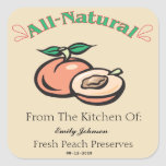 Customizable Peach Jam - Jelly or Preserve Labels Square Stickers