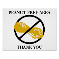Customizable Peanut Free Area for School or Office Poster
