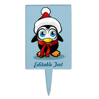 Customizable Penguin With Santa Hat Cake Topper