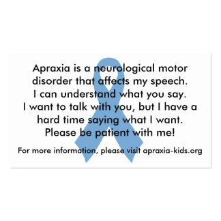 Customizable Personal Apraxia Awareness Cards