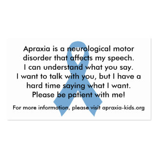 Customizable Personal Apraxia Awareness Cards Double-Sided Standard Business Cards (Pack Of 100)