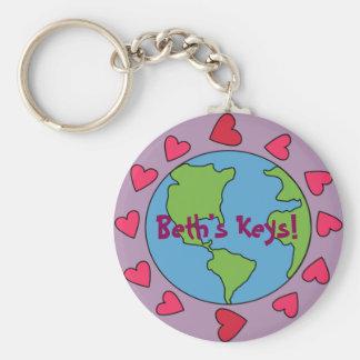 Customizable Personalized I Love Earth Keychain