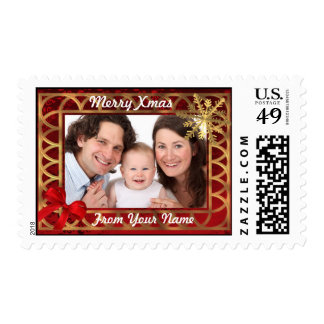 Customizable personalized photo christmas postage