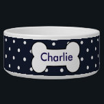 "Customizable pet bowl navy blue, white dots, bone<br><div class=""desc"">This is a cute bowl for your dog.  You can type in your dog&#39;s name,  change the font and color.</div>"
