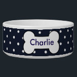 """Customizable pet bowl navy blue, white dots, bone<br><div class=""""desc"""">This is a cute bowl for your dog.  You can type in your dog&#39;s name,  change the font and color.</div>"""