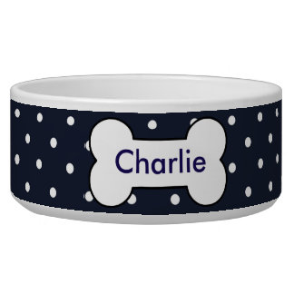 Customizable pet bowl navy blue, white dots, bone