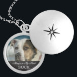 """Customizable Pet Memorial Photo Keepsake Locket Necklace<br><div class=""""desc"""">Personalized custom photo pet memorial necklace for animal lovers is ready for you to create your own pet memorial photo gift. For pet owners who bereave the loss of a family pet and friend going over the rainbow bridge, it reads Always in My Heart in elegant script letters with customizable...</div>"""
