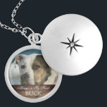 """Customizable Pet Memorial Photo Keepsake Rustic Silver Plated Necklace<br><div class=""""desc"""">Rustic, personalized custom photo pet memorial necklace for animal lovers is ready for you to create your own pet memorial photo gift. For pet owners who bereave the loss of a family pet and friend going over the rainbow bridge, it reads &#39;Always in My Heart&#39; in elegant script letters with...</div>"""