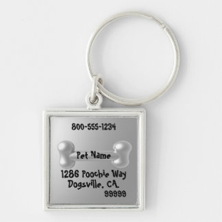 Customizable Pewter look 3D Dog ID tag Silver-Colored Square Keychain