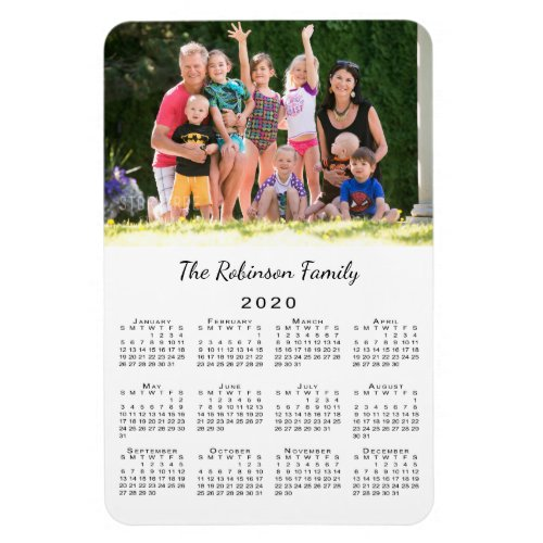 Customizable Photo and Name 2020 Calendar Magnet