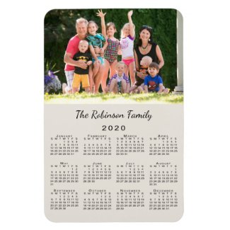 Customizable Photo and Name Beige 2020 Calendar Magnet