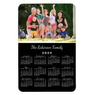 Customizable Photo and Name Black 2020 Calendar Magnet