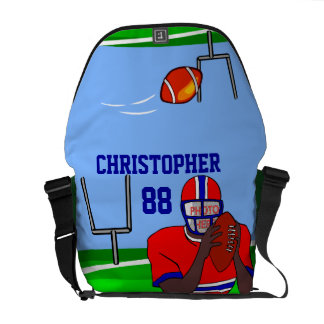 Customizable photo and name football grid iron AA Messenger Bag