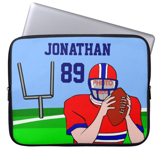 Customizable photo and name football grid iron laptop computer sleeve