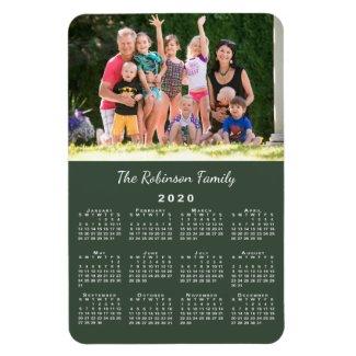 Customizable Photo and Name Green 2020 Calendar Magnet