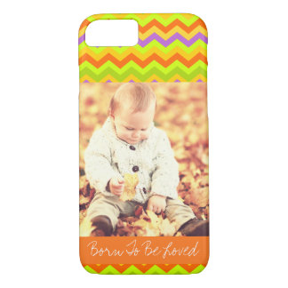 Customizable photo and text colorful chevron iPhone 8/7 case