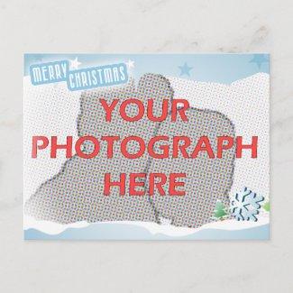 Customizable Photo Blue Merry Christmas postcard