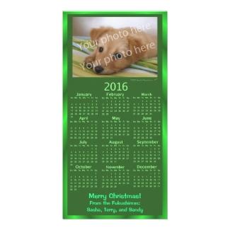 Customizable Photo Card 2016 Calendar Green Xmas