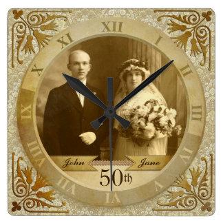 Customizable Photo Clock Gold Damask Roman Numeral