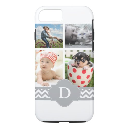 Customizable Photo Collage Gray Chevron Monogram iPhone 8/7 Case