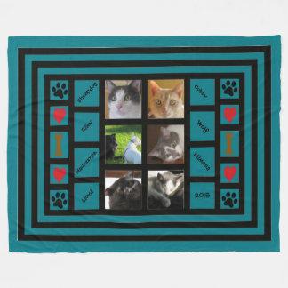 Customizable Photo Collage/Instagram Style Blue Fleece Blanket