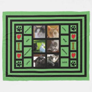 Customizable Photo Collage/Instagram Style Green Fleece Blanket