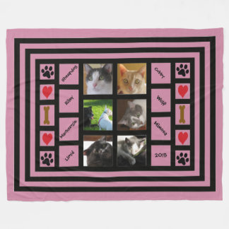 Customizable Photo Collage/Instagram Style Pink Fleece Blanket