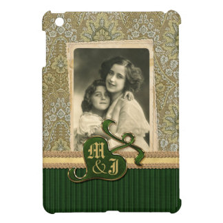 Customizable Photo Frame Antique Green Damask Gold Cover For The iPad Mini
