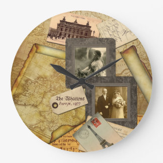 Customizable Photo Frame Vintage Map Paper Collage Large Clock