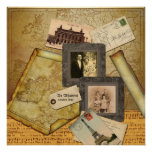 Customizable Photo Frame Vintage Map Paper Collage Poster