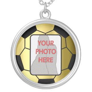 Customizable photo gold soccer ball award Necklace