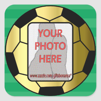 Customizable photo gold soccer ball square sticker