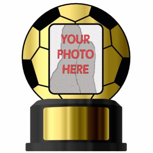 Customizable photo golden soccer  Acrylic Sculptur Standing Photo Sculpture